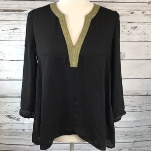 Daniel Rainn- Black Chiffon blouse gold embroidery